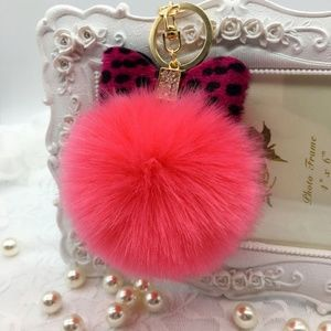 Accessories - Watermelon Pink Leopard Bow Pompom Keychain